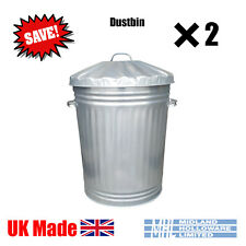 More details for (2) 90 litre galvanised dustbins tapered heavy duty best uk made! package