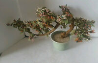 Vintage Jade Tree Large Celadon Pot Rose Quartz & Carnelian