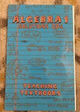 Teaching Textbooks Algebra 1 (version 1.0) Solutions CDs