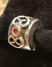 Authentic Pandora 925 SS W 14K Gold Pandora Double Hearts With Red Sapphire Clip