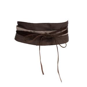 GUNEX Waist Belt Size IT 44 / M Leather Tie Straps Colour Block Made in Italy