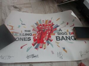 """ORIGINAL ROLLING STONES POSTER 24 X 38"""" SIGNED BY ALL THE MEMBERS VERY RARE"""