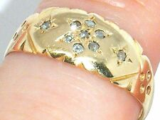 Antico ART DECO 18ct GOLD 18k ORO vecchia miniera Cut Diamond daisycluster Ring-M