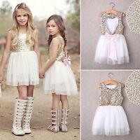 Baby Sequin Girls Princess Dress Party Pageant Wedding Bridesmaid Tutu Sundress