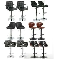 Set of 2 Counter Height PU Leather Bar Stools Adjustable Swivel Pub Chairs