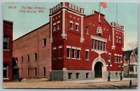 Fond du Lac Wisconsin~New National Guard Armory~House Next Door~c1915 Postcard