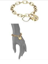MICHAEL KORS Women's Gold Tone Cityscape Chain Bracelet Padlock MKJ4627710 + BOX