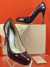 NIB MIU MIU PRADA PURPLE PLUM PATENT LEATHER BOW CLASSICS PUMPS 39 8.5 $600