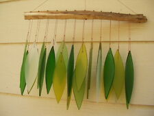 Shades of Green 24 Leaves Forest Spring 15 inch Glass Wind Chimes FREE SHIP