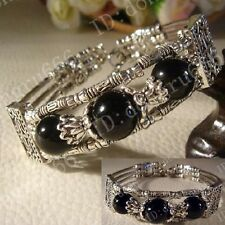Handmade Tibet Tibetan Silver Black Agate Ladies Fashion Bracelet Bangle AAA138