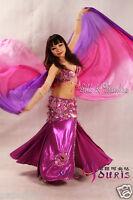 purple-hot pink-pink 3yd belly dance silk veil, light 5mm paj silk, edges rolled