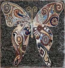 "28""x28"" Handmade Butterfly Mural Home Design Marble Mosaic Stone Art"