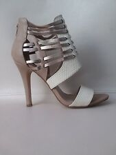 CHARLOTTE RUSSE Taupe Beige Open Toe Booties Heel Sandal Shoe Women 8 HiddenJuel