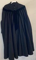 """1950's Lilli Ann Black Mohair """"Eye Lash"""" Wool Velvet Trim Winter Swing Coat"""