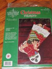 "BUCILLA RINGING IN THE SEASON FELT STOCKING KIT BEARS 15"" Embroidery Applique"