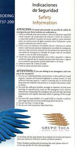 GRUPO TACA 737-200 SAFETY CARD