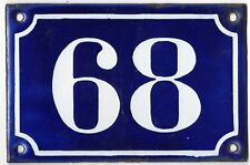 Old blue French house number 68 door gate plate plaque enamel metal sign c1900