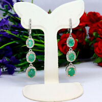 NATURAL 6 X 8 mm. OVAL GREEN EMERALD & WHITE CZ LONG EARRINGS 925 SILVER