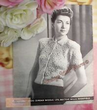 Vintage 1940s Lady's Cardigan Jumper Knitting Pattern 'Lily Of The Valley'