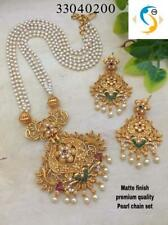 Gold Plated Indian Traditional Bollywood CZ AD New Pendent Necklace Earring SeTV