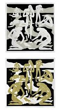 """Cleon Peterson Virgins 28"""" X 28"""" Gold And White Set Of Two Signed Prints"""