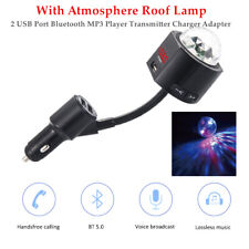 DC12V-24V 2 USB Port Bluetooth MP3 Player Transmitter Charger W/Roof Lamp 1PC