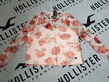 New Women's HOLLISTER Tie-Sleeve Floral Mesh Top Size S light pink floral