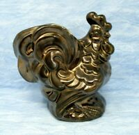 Vintage Kenwood Rooster Planter USA Pottery Bronze Glaze 6.5 in Mid Century