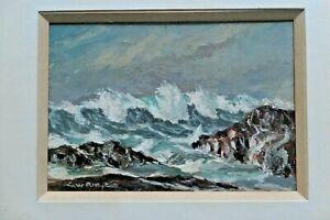 Mid 20th Oil On Board. Crashing Waves Coastal Scene. Signed. Prob S.Africa