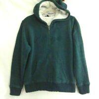 Tommy Hilfiger Womens Hoodie Green Full Zip Pockets Faux Fur Lined Sweatshirt L