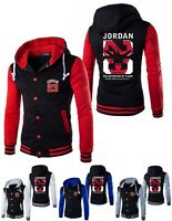 NEW Michael Jordan 23 Baseball Jacket Chicago Bulls Mens Hooded Coat Men Hoodie