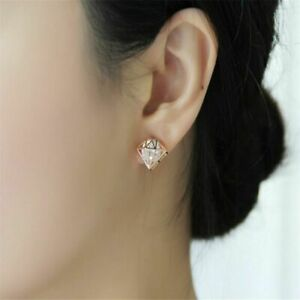 Gold Plated White Crystal Crown Stud Earrings