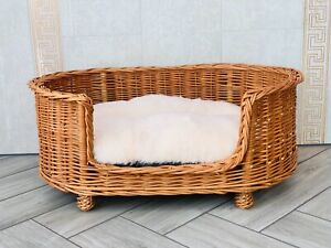 Luxury Handmade Natural Wicker Oval Dog Bed Willow With Legs