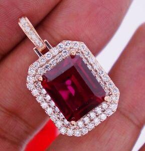 2.50Ct Diamonds&20Ct Red Stone Pendant Celebrity Style RG Valentineday Spl.Sale