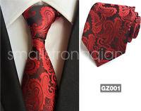 Mens Classic Black Red Paisley Parrten Silk Tie Necktie JACQUARD WOVEN Tie