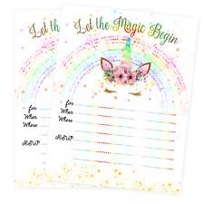 Unicorn Invitations Slumber Party Invites Birthday Invitation Cards Qty 20