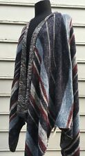 FREE PEOPLE The Big Trail Cardigan Poncho Sz SMALL~Indigo Combo