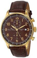 NEW Lucien Piccard LP-10503-YG-04-BR Men's Montilla Brown Leather Gold Watch