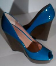 Vince Camuto women shoes Laddel platform open-toe leather blue & grey shoes 7.5