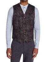 Tallia Mens Suit Seperate Purple Size Small S Vest Paisley Print Knit $78 079