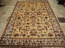 Area Rug Cream Love Floral Rectangle Hand Knotted Silk Wool Carpet (10 x 6)'