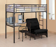 Black Metal Multifunction Twin Loft Bunk Bed With Desk And Futon