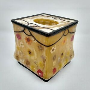India Ink Acrylic Tissue Box Cover Honey Fresh Fields Model Dried Flowers Detail