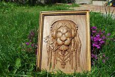 Wood Carved Lion Head, wood carvings, wood wall hanging Art Work