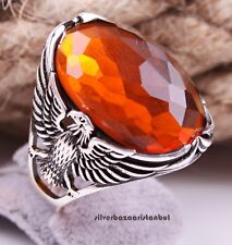CİTRİNE STONE TURKISH  JEWELRY 925 STERLİNG SİLVER MEN EAGLE Ring US ALL SİZE
