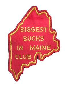 Vintage Biggest Bucks In Maine Club Felt Deer Hunting Patch Larry Benoit *RARE*