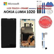 LCD NOKIA LUMIA 1020 MICROSOFT N1020 DISPLAY FRAME TOUCH SCREEN NERO + KIT