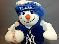 NY Yankees Snowman Baseball Fan Doll Stand Alone Holiday Stuffed Collectible
