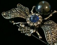 """Blue Grey Pearl Fly Bug Insect Wasp BUMBLE BEE PIN BROOCH JEWELRY 2.5"""" Lrg 3D"""