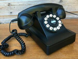 Vintage Style Bakelite Black Look 302 Wild Wolf Push Button Desk Telephone 2016
